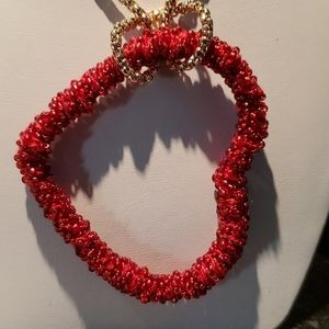 💝NWOT Red bead heart long necklace